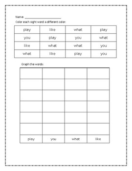 Color and Graph Sight Words (editable)
