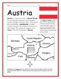 AUSTRIA - printable handouts with a map to color
