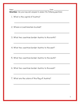 AUSTRIA - printable handouts with map and flag