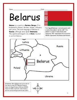 BELARUS - printable handout with map and flag to color