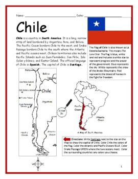 CHILE - Printable handouts with map and flag to color