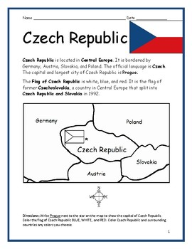 CZECH REPUBLIC - printable handout with map and flag