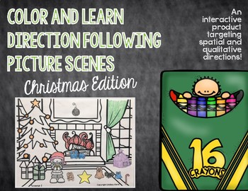 Color and Learn Direction Following Picture Scenes: Christmas Edition