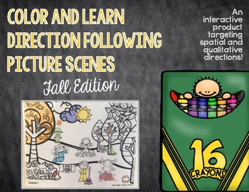 Color and Learn Direction Following Picture Scenes: Fall Edition