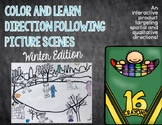Color and Learn Direction Following Picture Scenes: Winter Edition