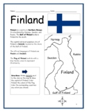 FINLAND - Printable handouts with map and flag to color