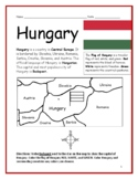 HUNGARY - printable handouts with map and flag to color