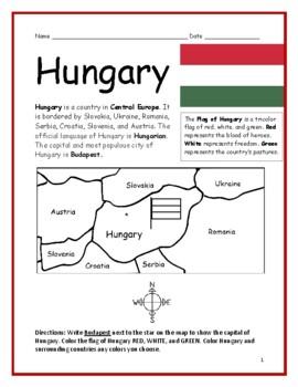 HUNGARY - printable handout with map and flag