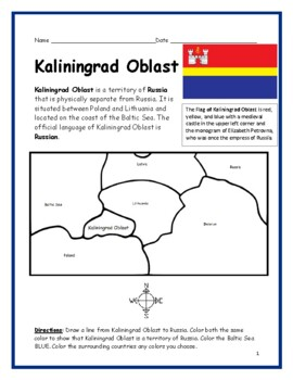 KALININGRAD OBLAST - Printable handouts with map and flag