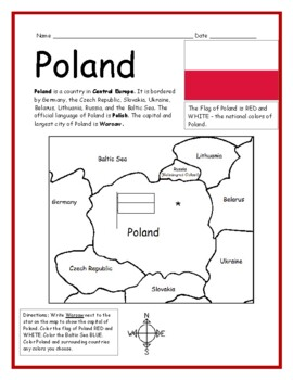 graphic regarding Printable Map of Poland identified as POLAND - Printable handout with map and flag