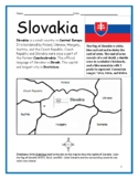 SLOVAKIA - printable handouts with map and flag to color