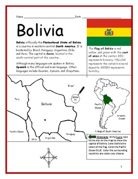 BOLIVIA - Printable handouts with map and flag to color