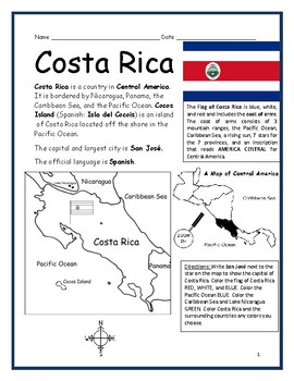 photo relating to Printable Map of Costa Rica called COSTA RICA - Printable handouts with map and flag via