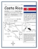 COSTA RICA - Printable handouts with map and flag