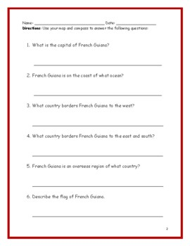 FRENCH GUIANA - Printable handouts with map and flag to color