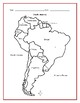 SOUTH AMERICA - Printable handouts with map and list of countries