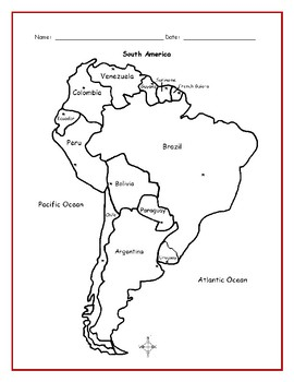 Map Of America Printable.South America Printable Handouts With Map And List Of Countries