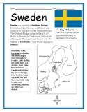 SWEDEN - Printable handout with map and flag to color
