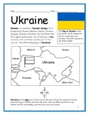 UKRAINE - Printable handouts with map and flag to color