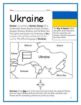 UKRAINE - Printable handout with map and flag