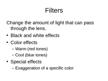 Color and Lighting Notes - Photography