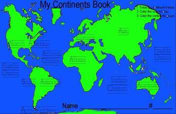 Color And Name The Continents And Countries By TeachersRock TpT - Name of continents