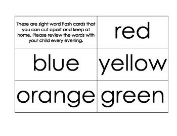 Color and Number Sight Word Flash Cards