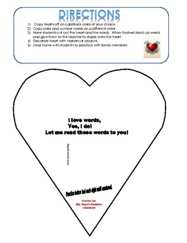 Color and Number Word Heart Take Home Activity- Sight Word Fluency