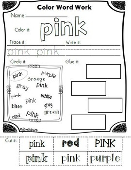 Color and Number Word Work