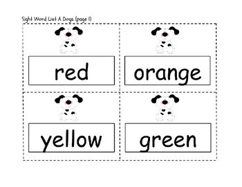 Color and Number Words Flashcards or Word Wall Words