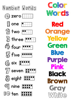 Color and Number Words Free Student Resource Sheet