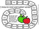 Color and Number Words Game Board