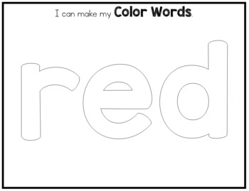 Color and Number Words Playdough Mats