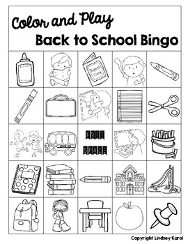 Color and Play Back to School Bingo