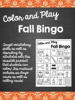 Color and Play Fall Bingo