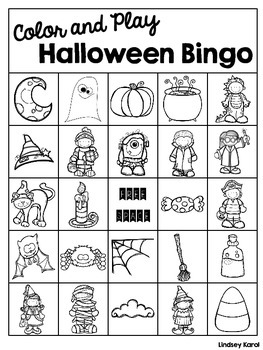 Color and Play Halloween Bingo
