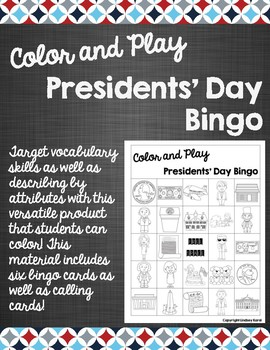 Color and Play Presidents' Day Bingo
