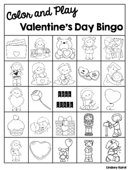 Color and Play Valentine's Day Bingo
