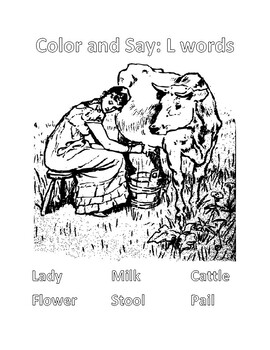 Color and Say Picture Scene: L Words