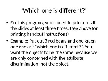 Color and Shape Discrimination OR Which One is Different Attributes