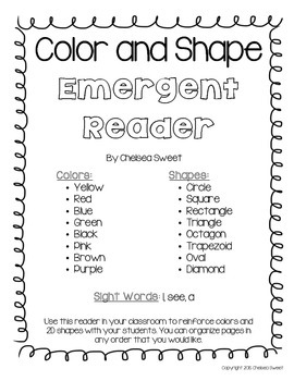 Color and Shape *Emergent Reader* FREEBIE