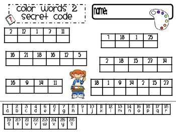 Color and Shape Secret Code Words