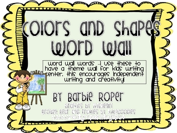 Color and Shape Word Wall Words