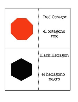Color and Shapes Flashcards - Spanish and English -Easy