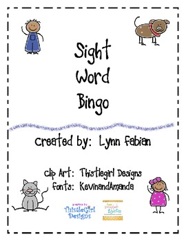 Color and Sight Word Bingo Set