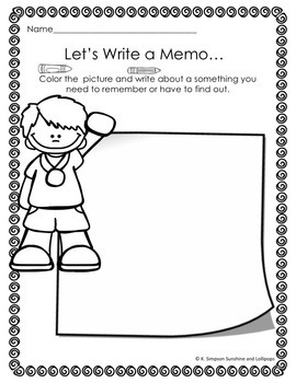 Journal Prompts to Encourage Kid Writing Set 1 Level 1 Color & Write