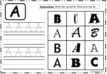 Alphabet Worksheet Freebie - Color and Write The Letter 'A' Capital
