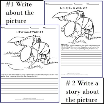 Color and Write a Story Based on the Picture - Rice Printable  Worksheet