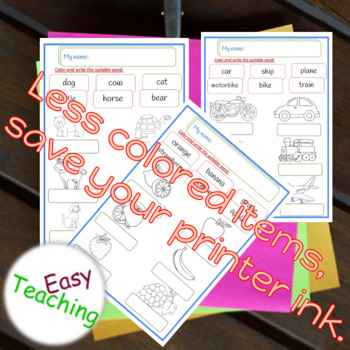 Color and write the suitable word _ Learn _ Vocabulary