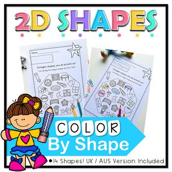 Color by 2D Shape No Prep Worksheets